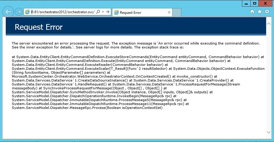 Request Error – while Opening Orchestrator Web Services