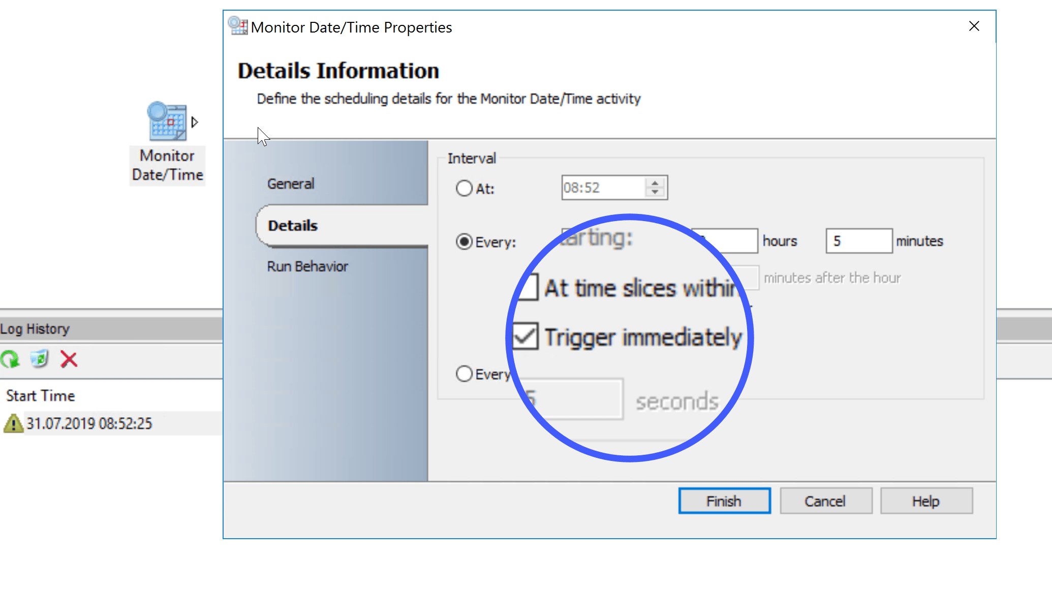 "Monitor Date/Time with ""Trigger immediately"" fails with Update Rollup 7 for System Center 2016"